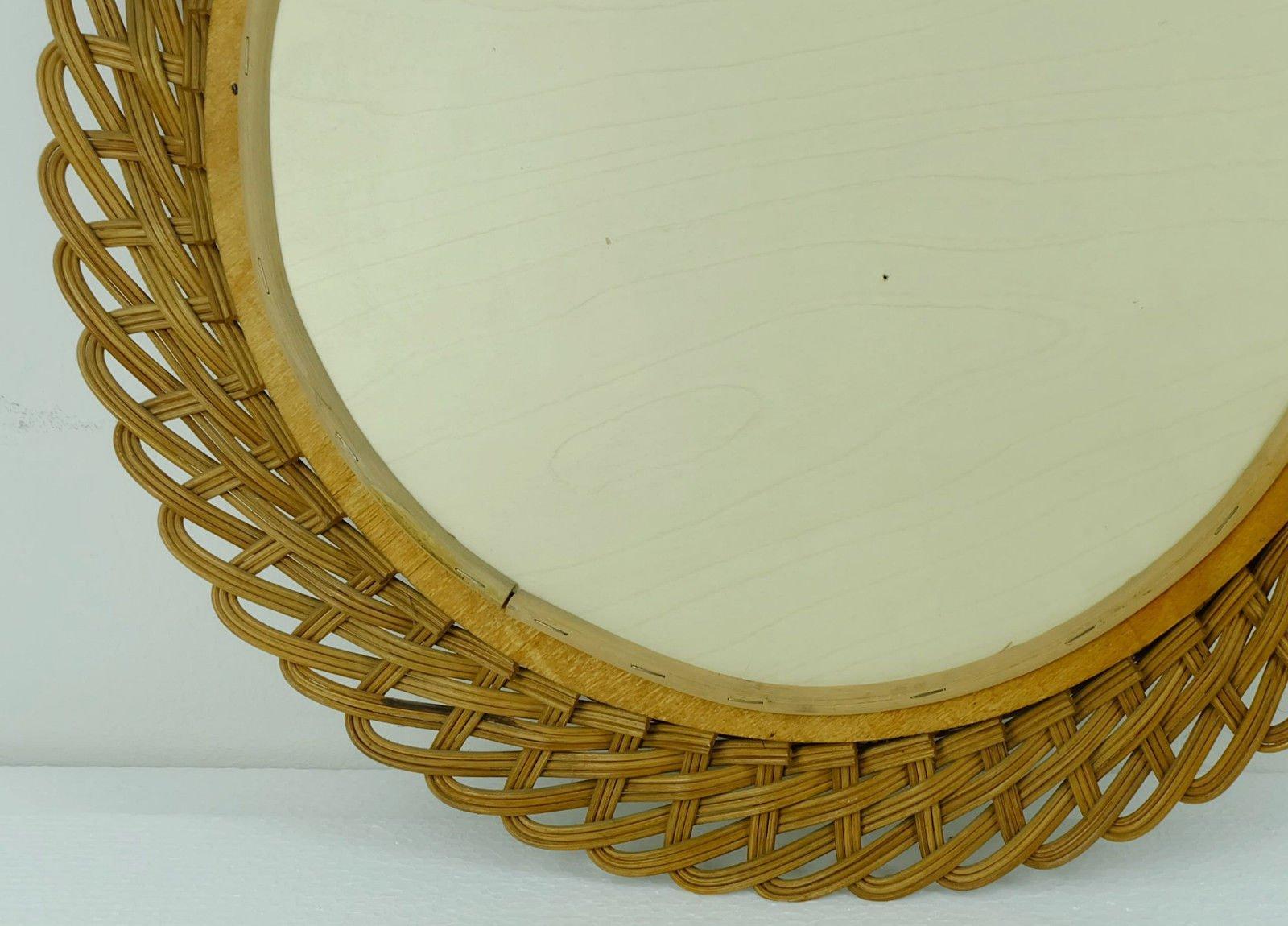 Gro Er Runder Spiegel runder spiegel mit rattan rahmen 1950er bei pamono kaufen