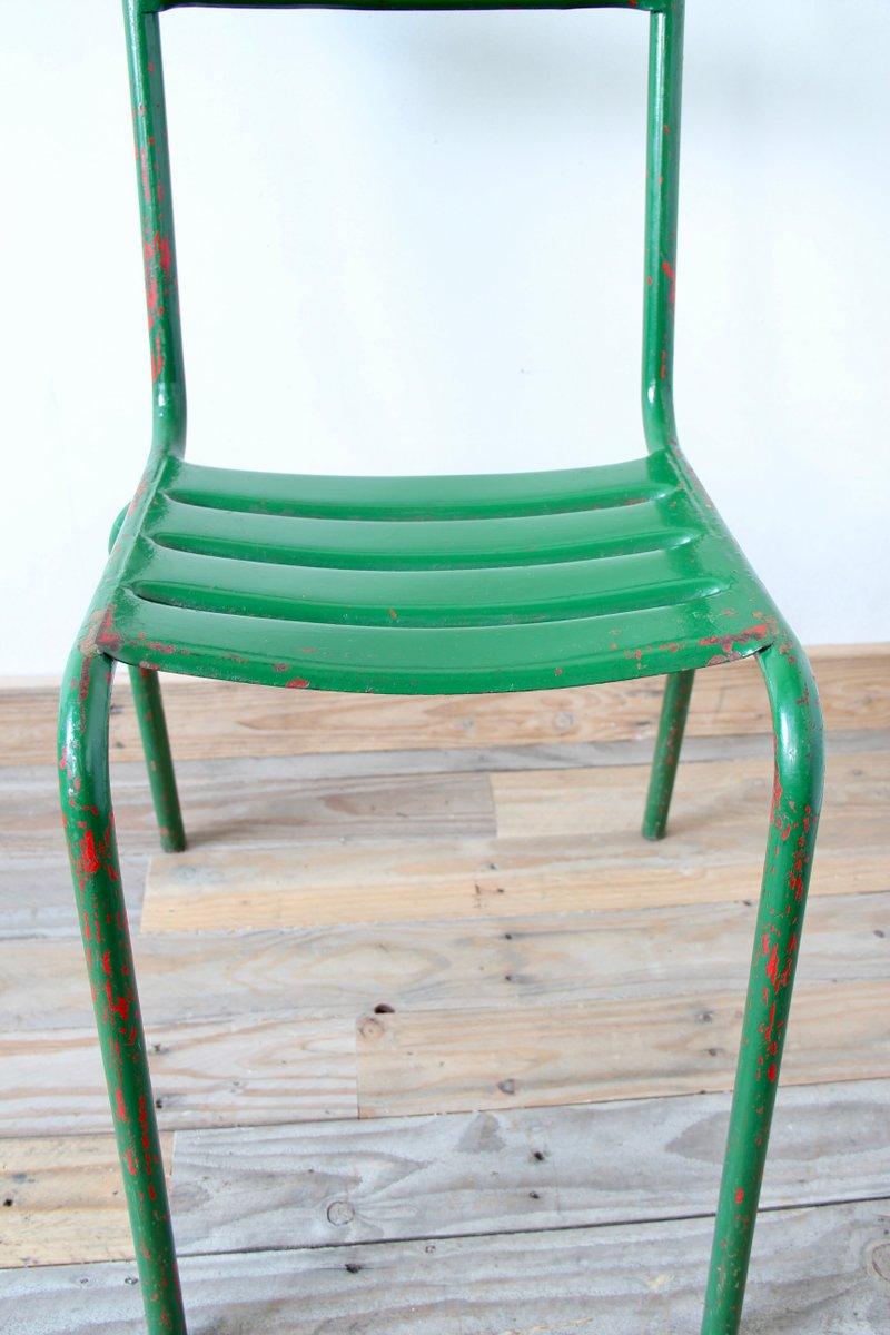 gr ne vintage bistro st hle aus metall 4er set bei pamono kaufen. Black Bedroom Furniture Sets. Home Design Ideas