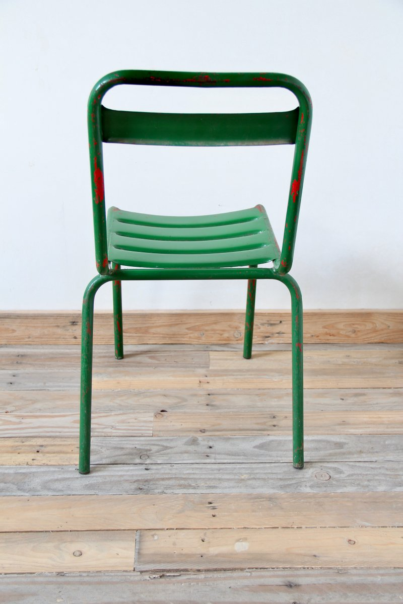 Vintage Green Metal Bistro Chairs, Set Of 4
