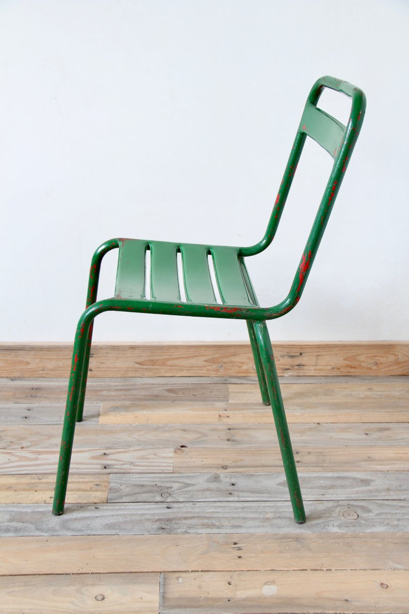 Vintage Green Metal Bistro Chairs Set Of 4 For Sale At Pamono