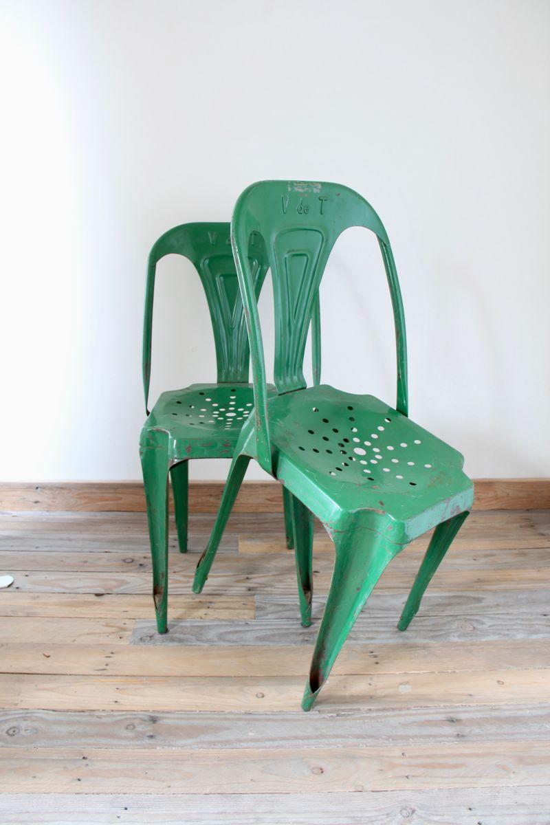 gr ne st hle aus metall von joseph mathieu f r multipl 39 s 2er set bei pamono kaufen. Black Bedroom Furniture Sets. Home Design Ideas