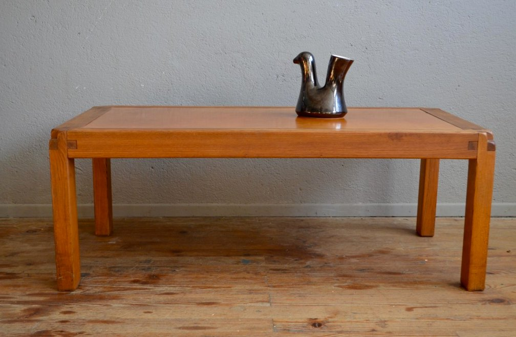 Vintage Coffee Table With Leather Top By Pierre Chapo For Chapo Sa