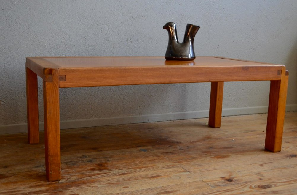 Delightful Vintage Coffee Table With Leather Top By Pierre Chapo For Chapo SA