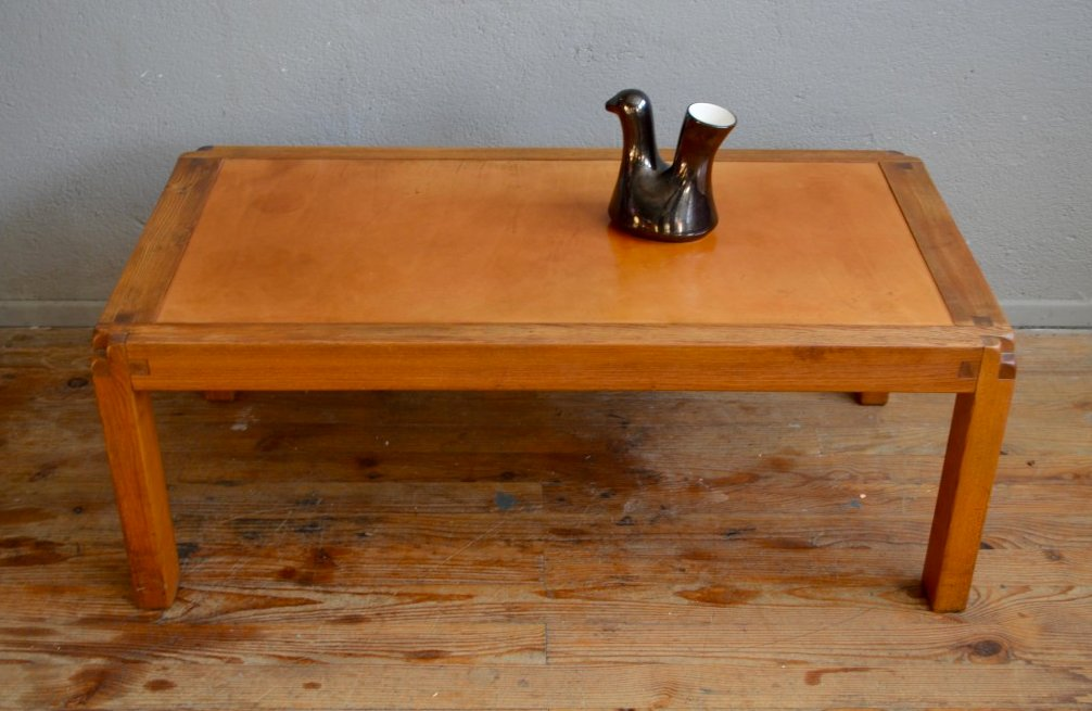 Vintage coffee table with leather top by pierre chapo for chapo sa for sale at pamono Coffee table with leather top