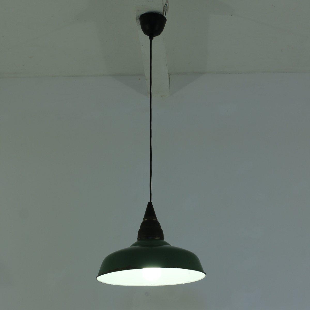 lampe suspension d 39 atelier vintage industrielle verte. Black Bedroom Furniture Sets. Home Design Ideas