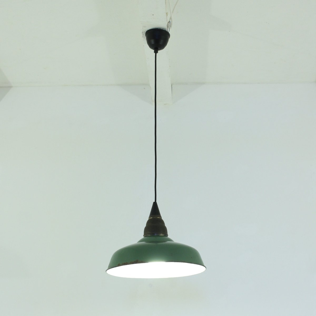 Vintage Industrial Green Workshop Pendant Lamp 1930s For Sale At Pamono
