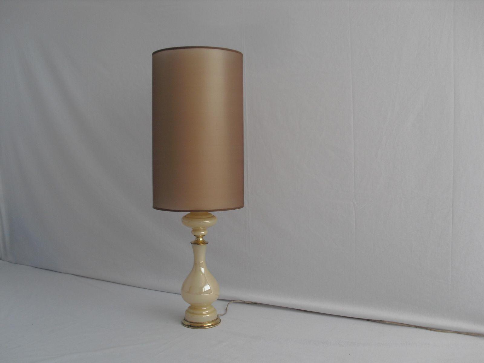 vintage glas tischlampe mit messing verzierungen bei. Black Bedroom Furniture Sets. Home Design Ideas