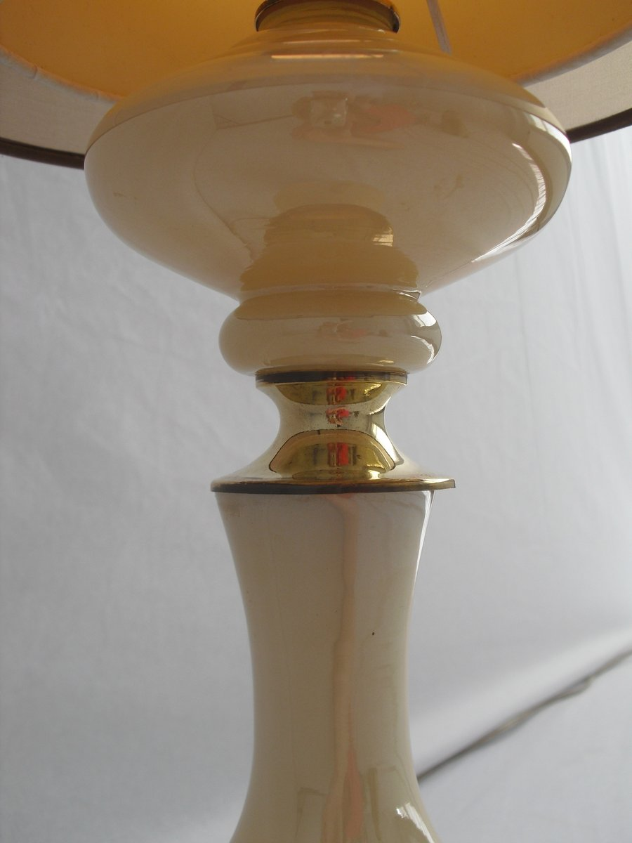 Vintage glass table lamps - Vintage Glass Table Lamp With Brass Detailing