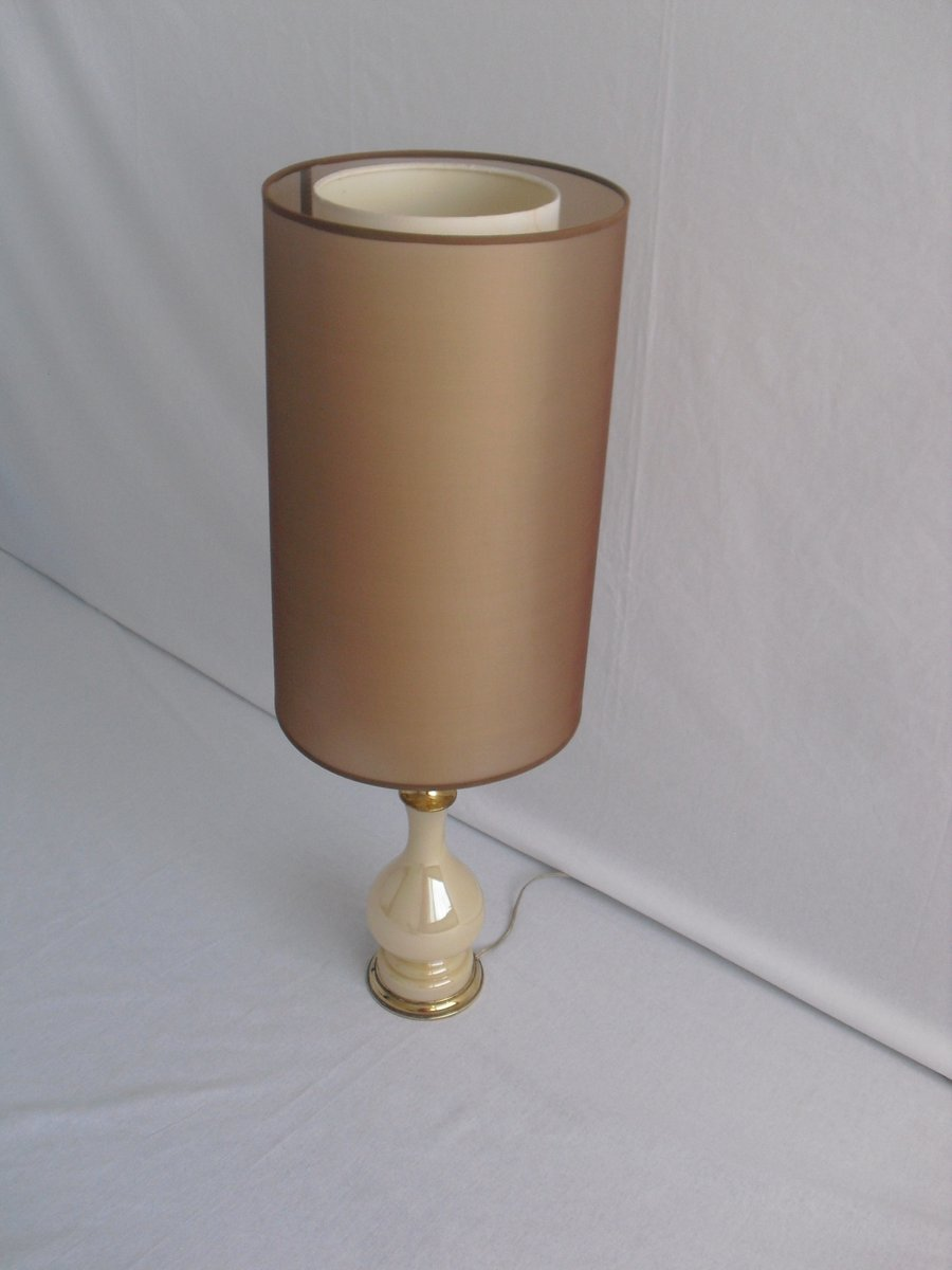 Vintage Glass Table Lamp With Brass Detailing For Sale At