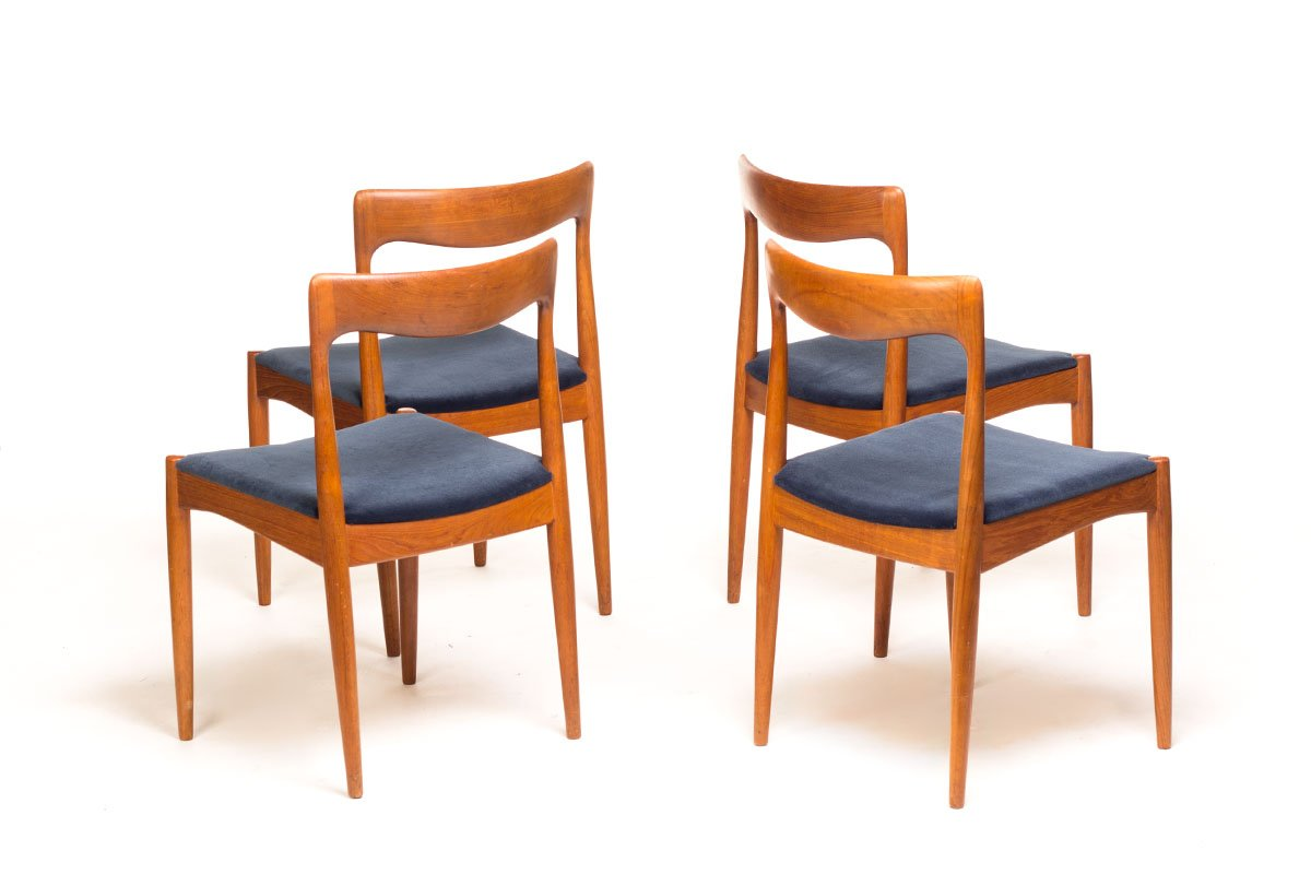 danish teak dining chairs by arne vodder for vamo sonderborg set of 4 for sale at pamono. Black Bedroom Furniture Sets. Home Design Ideas