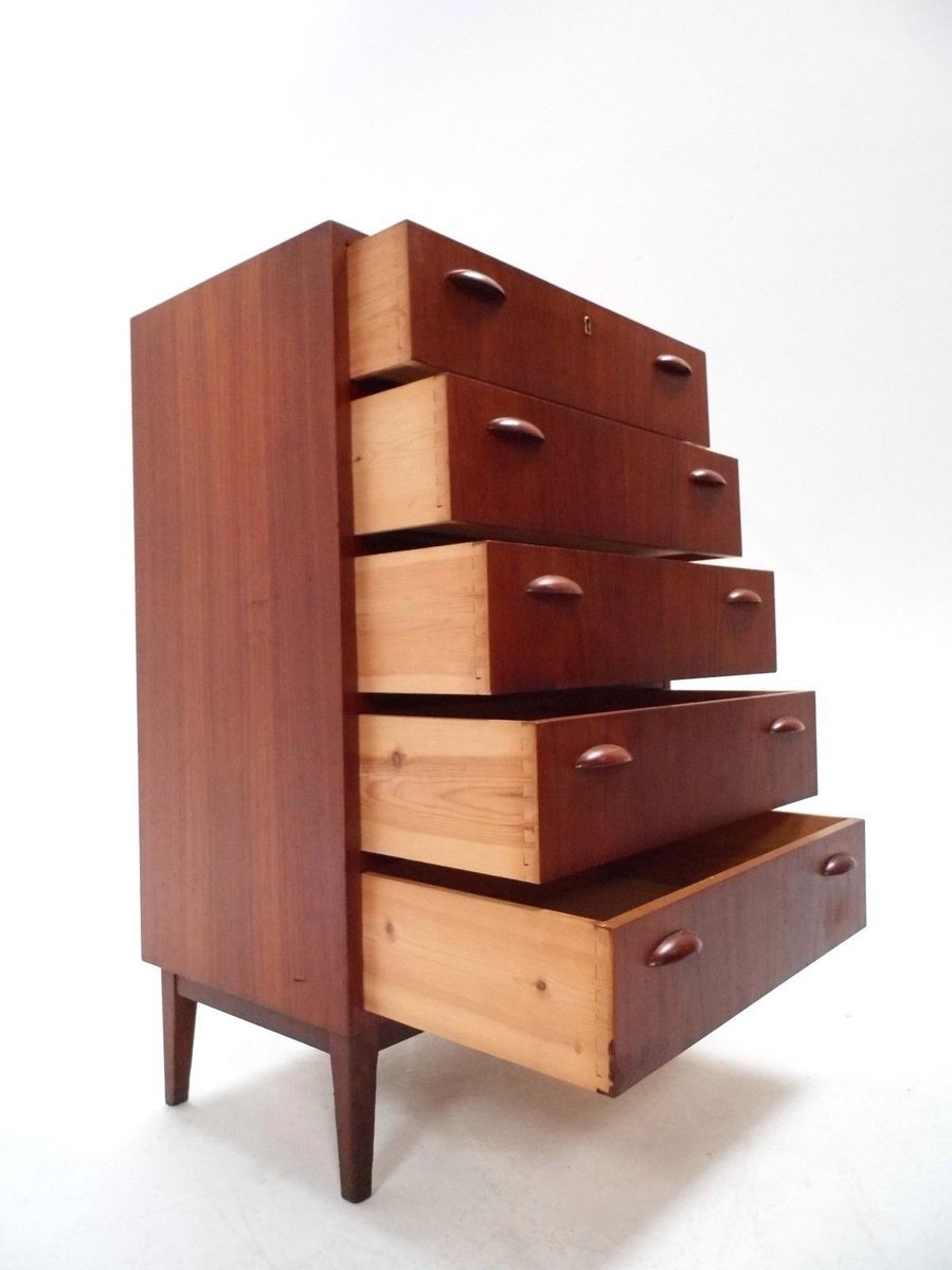 mid century danish teak tallboy chest of drawers with cup. Black Bedroom Furniture Sets. Home Design Ideas