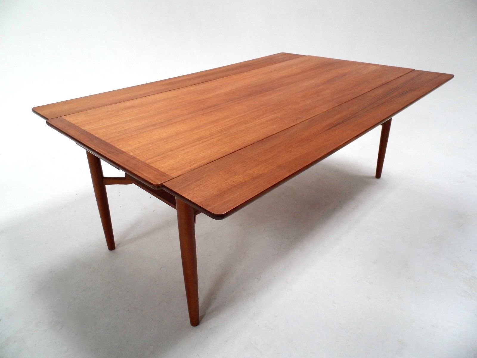 mid-century scandinavian teak extending coffee table with shelf