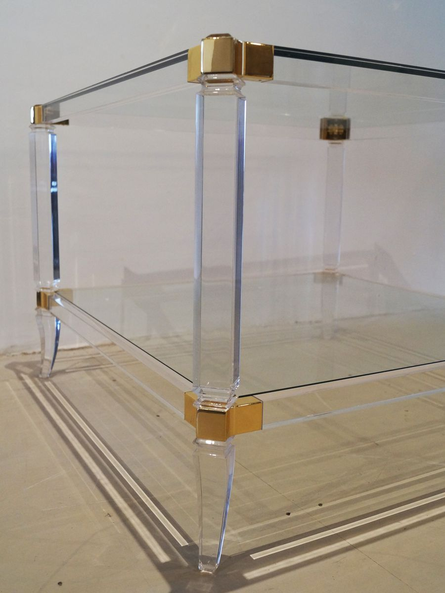 Vintage French Two-Tier Lucite & Glass Coffee Table