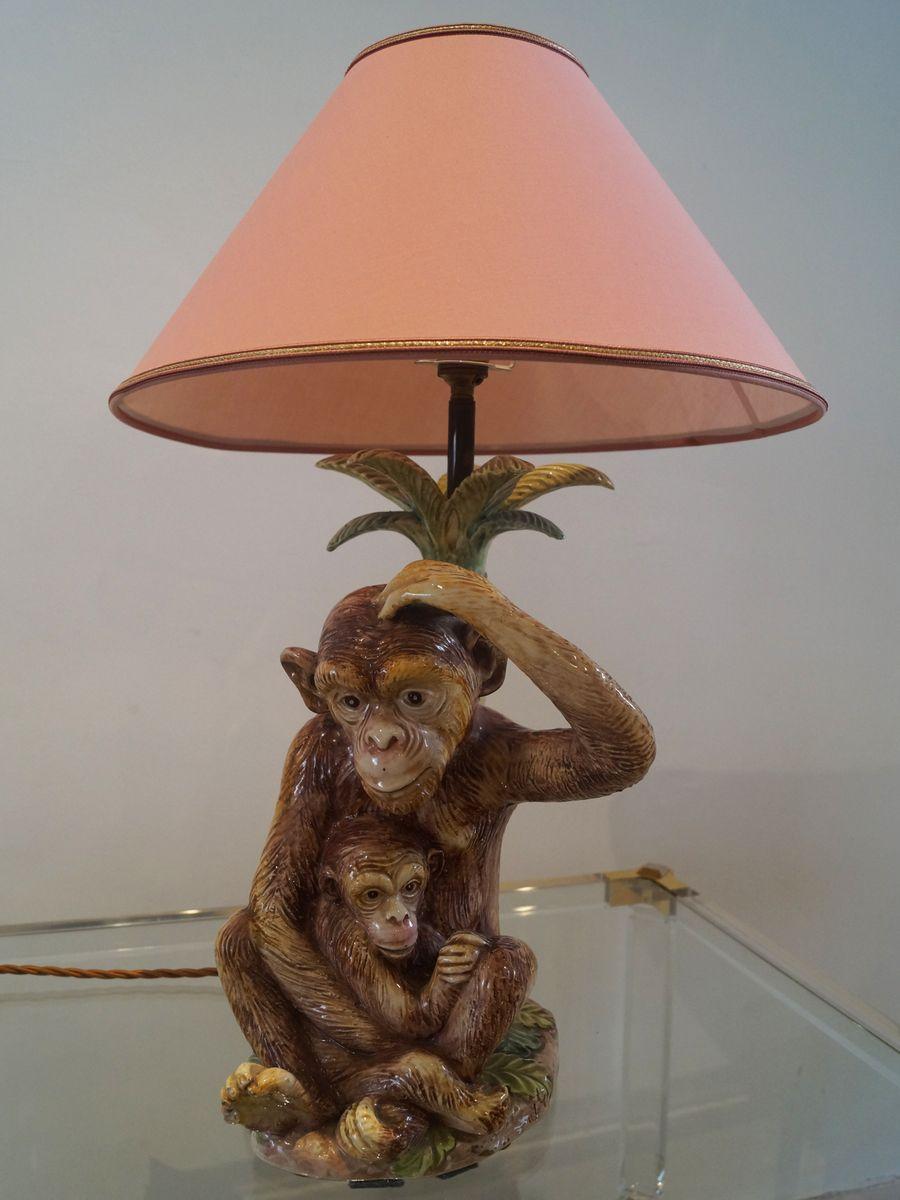 vintage majolica monkeys table lamp for sale at pamono. Black Bedroom Furniture Sets. Home Design Ideas