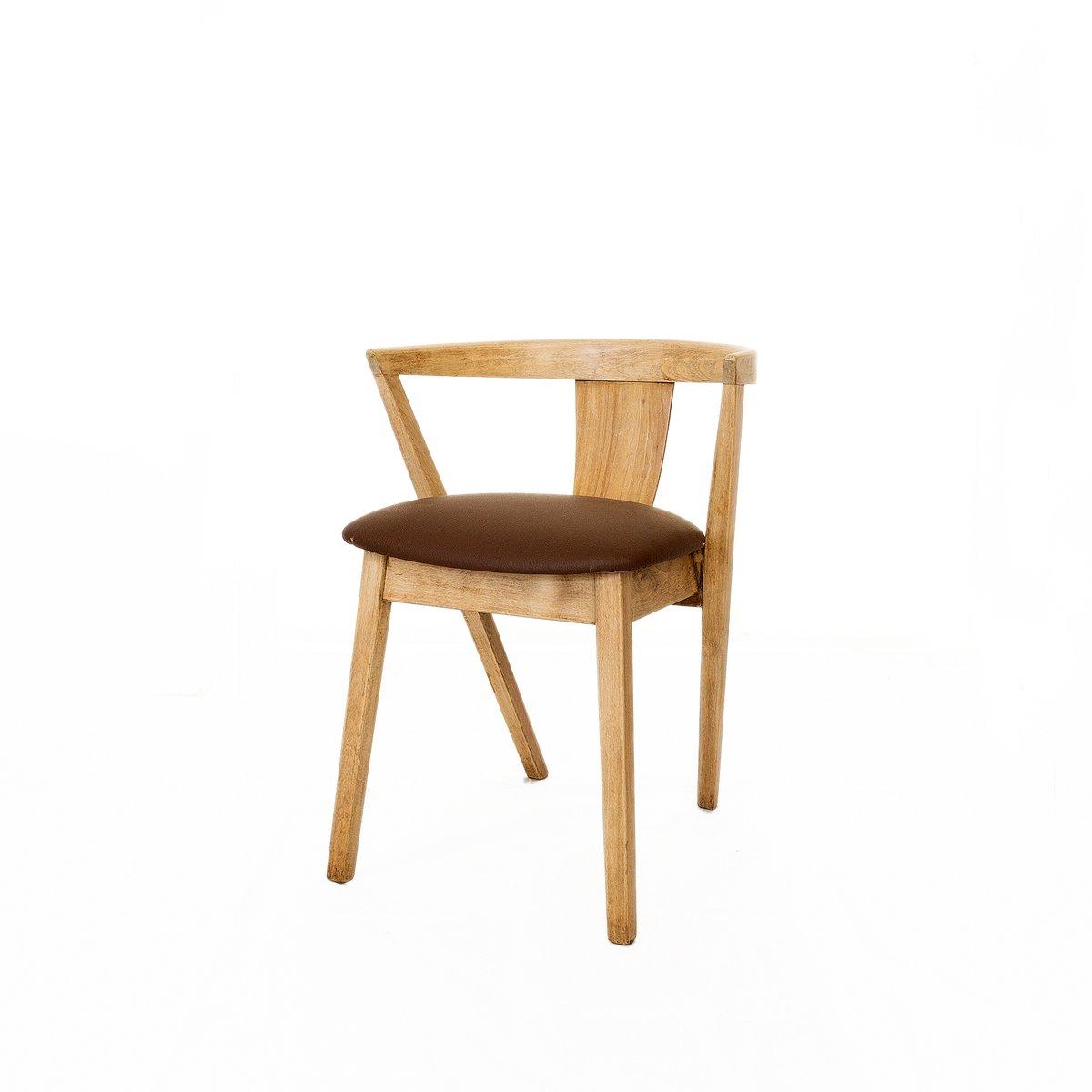 mid century st hle aus eichenholz leder 4er set bei. Black Bedroom Furniture Sets. Home Design Ideas