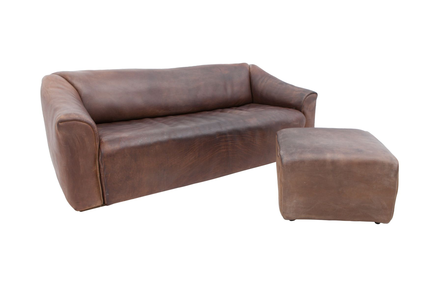 ds 47 leather sofa with ottoman from de sede 1970s for. Black Bedroom Furniture Sets. Home Design Ideas