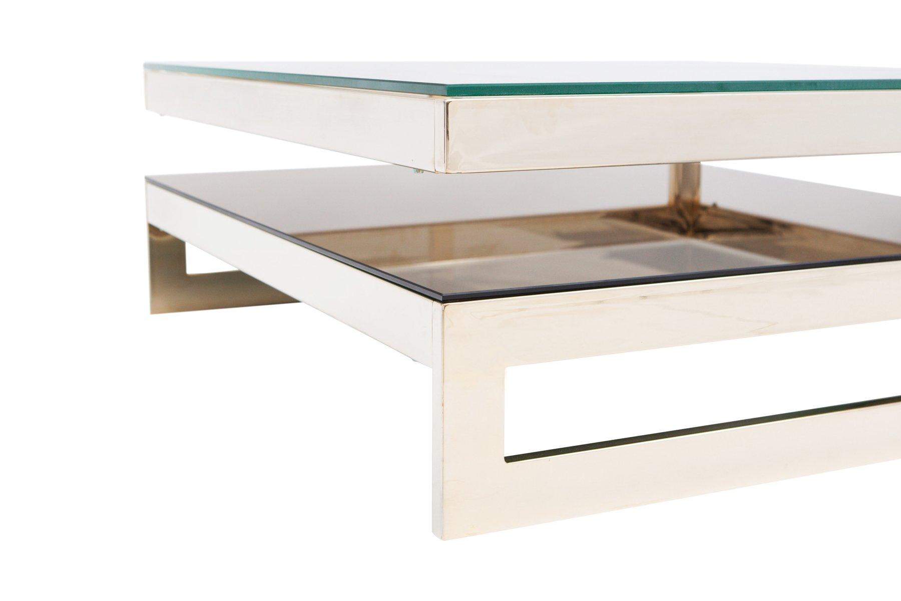 viereckiger vergoldeter g couchtisch mit ablage von m2000. Black Bedroom Furniture Sets. Home Design Ideas