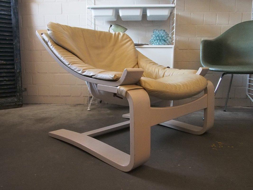 vintage leather cantilevered kroken chair by ke fribytter. Black Bedroom Furniture Sets. Home Design Ideas