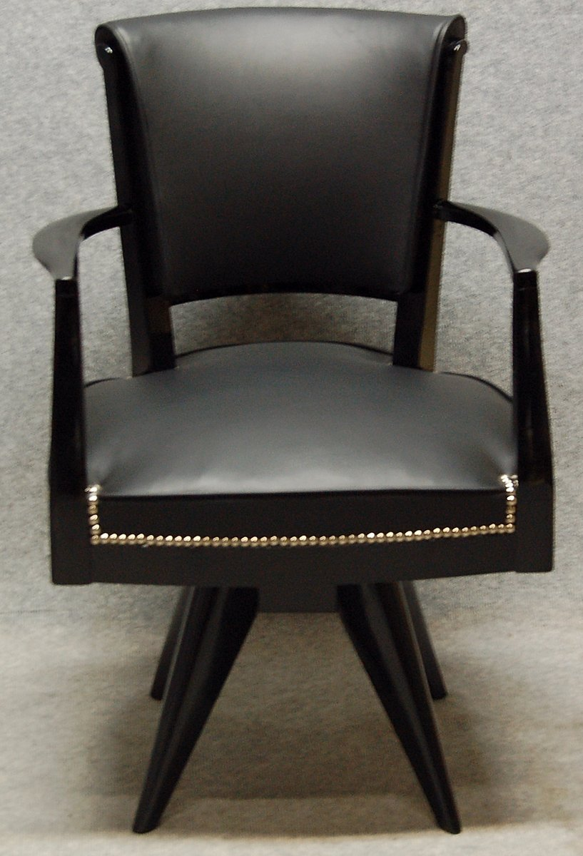 Art Deco Desk Chairs - Art deco office chair in lacquered wood leather 1930s
