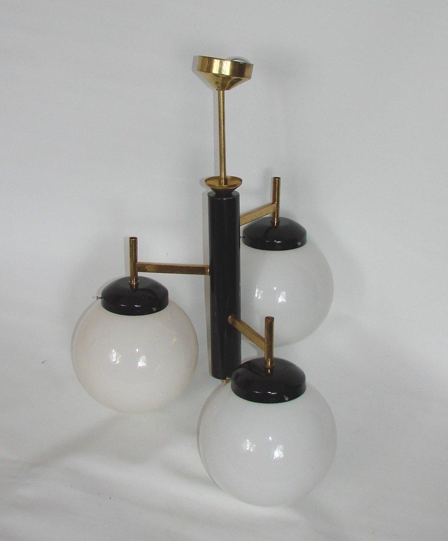 modernistische deckenlampe aus messing stahl und glas. Black Bedroom Furniture Sets. Home Design Ideas