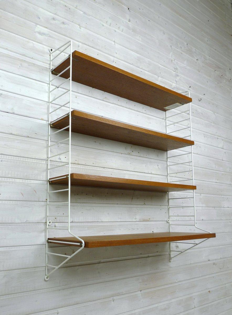 mid century swedish teak wall shelf by nisse strinning for string design ab 1960s for sale at. Black Bedroom Furniture Sets. Home Design Ideas