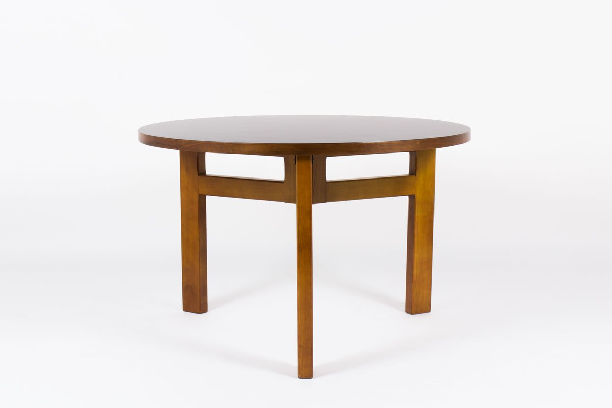 Mid century french round dining table by andre sornay for Mid century round dining table