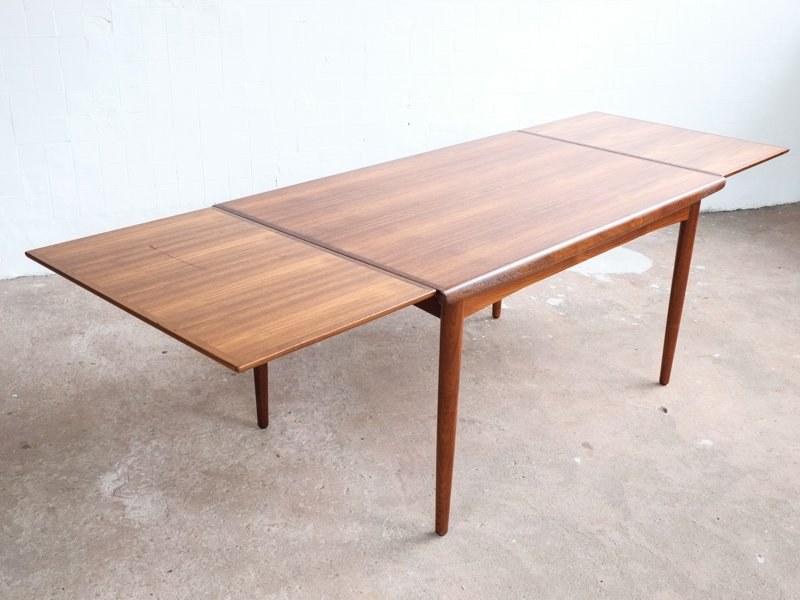 Mid Century Danish Teak Table With Hidden Extension Leaves