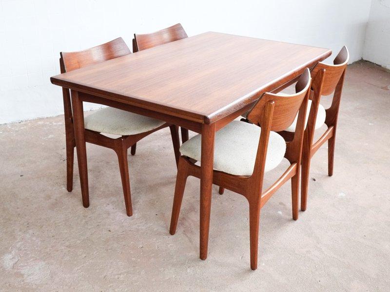 Mid Century Danish Teak Table With Hidden Extension Leaves