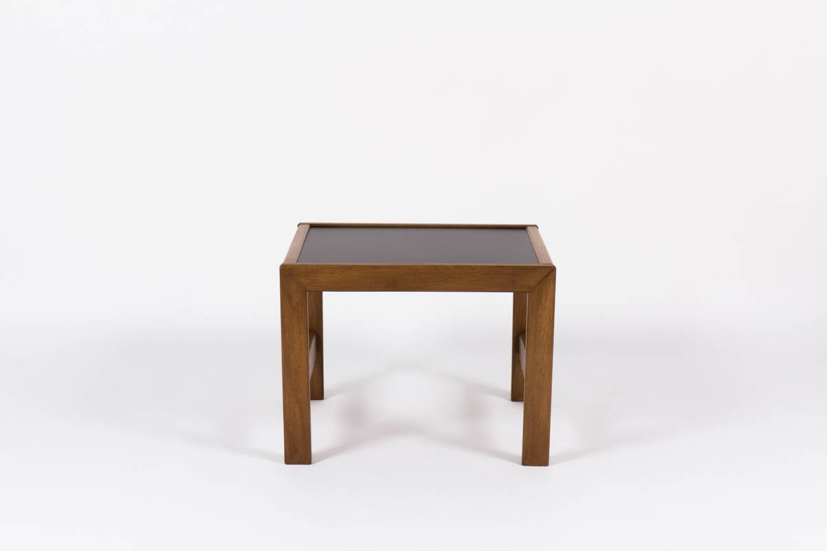 Small Mahogany Coffee Table With Black Laminate By Andre Sornay, 1950s