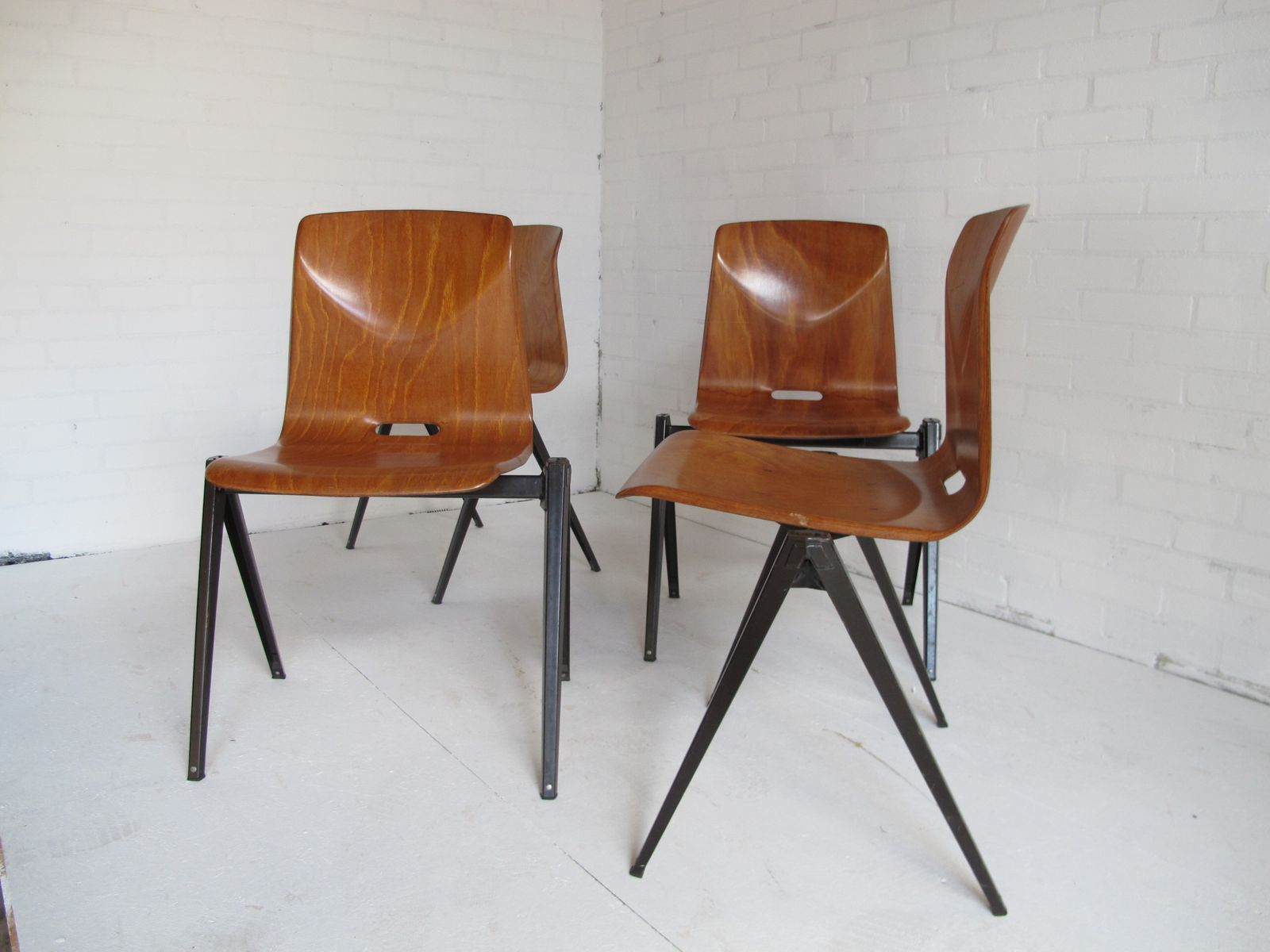 Industrial Vintage Dining Chairs from Galvanitas 1967 Set of 4