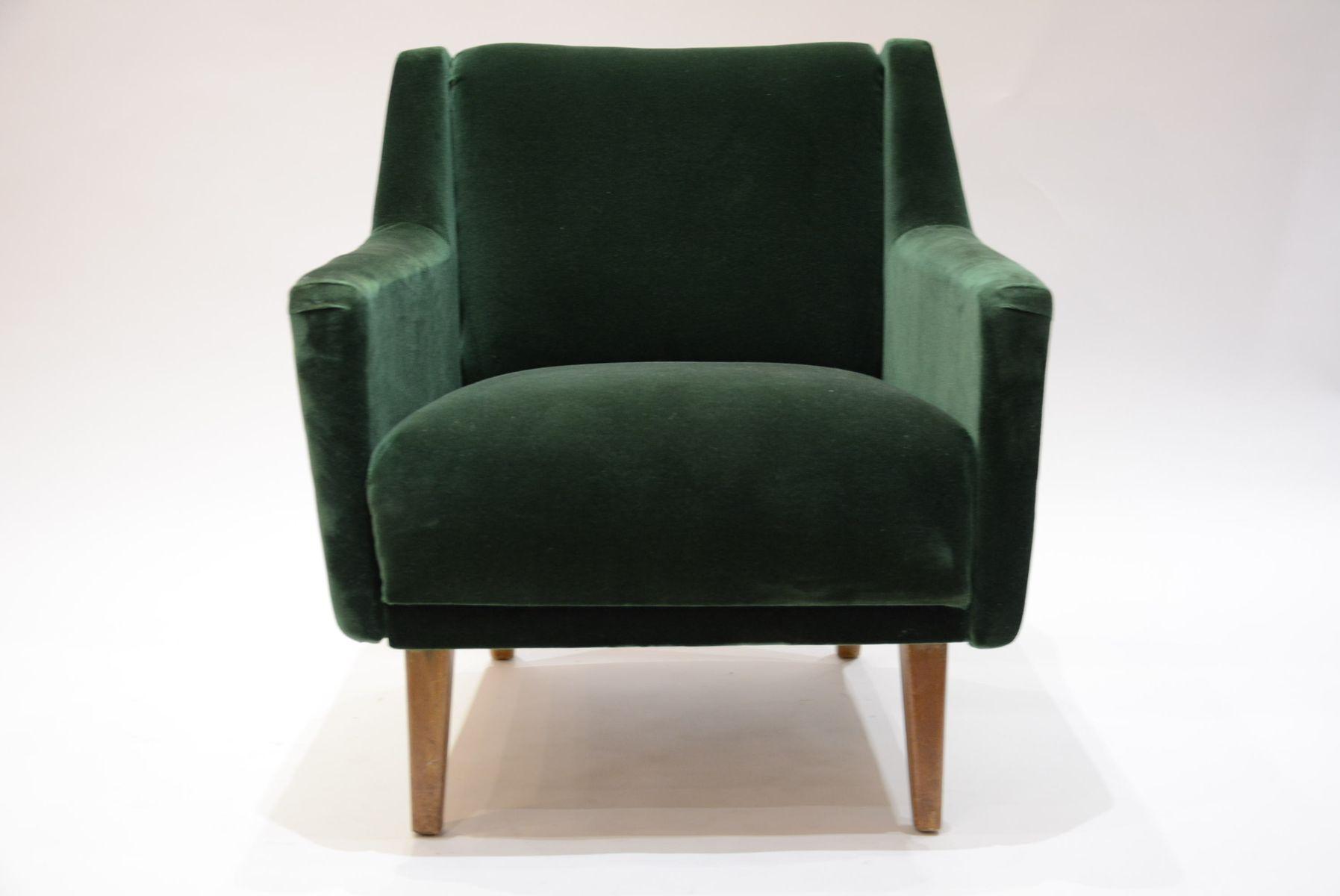 dunkelgr ner mid century sessel aus samt mit tropischem muster bei pamono kaufen. Black Bedroom Furniture Sets. Home Design Ideas