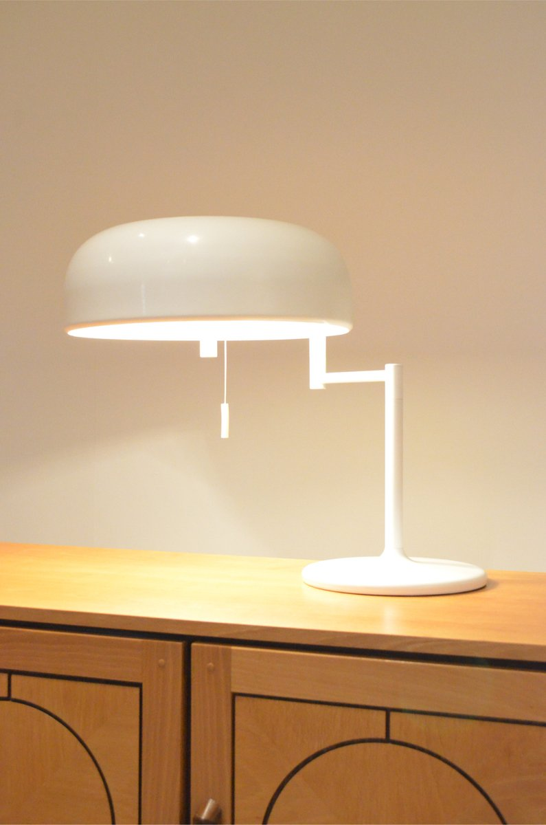 large space age white metal swivel table lamp 1970s for sale at pamono. Black Bedroom Furniture Sets. Home Design Ideas