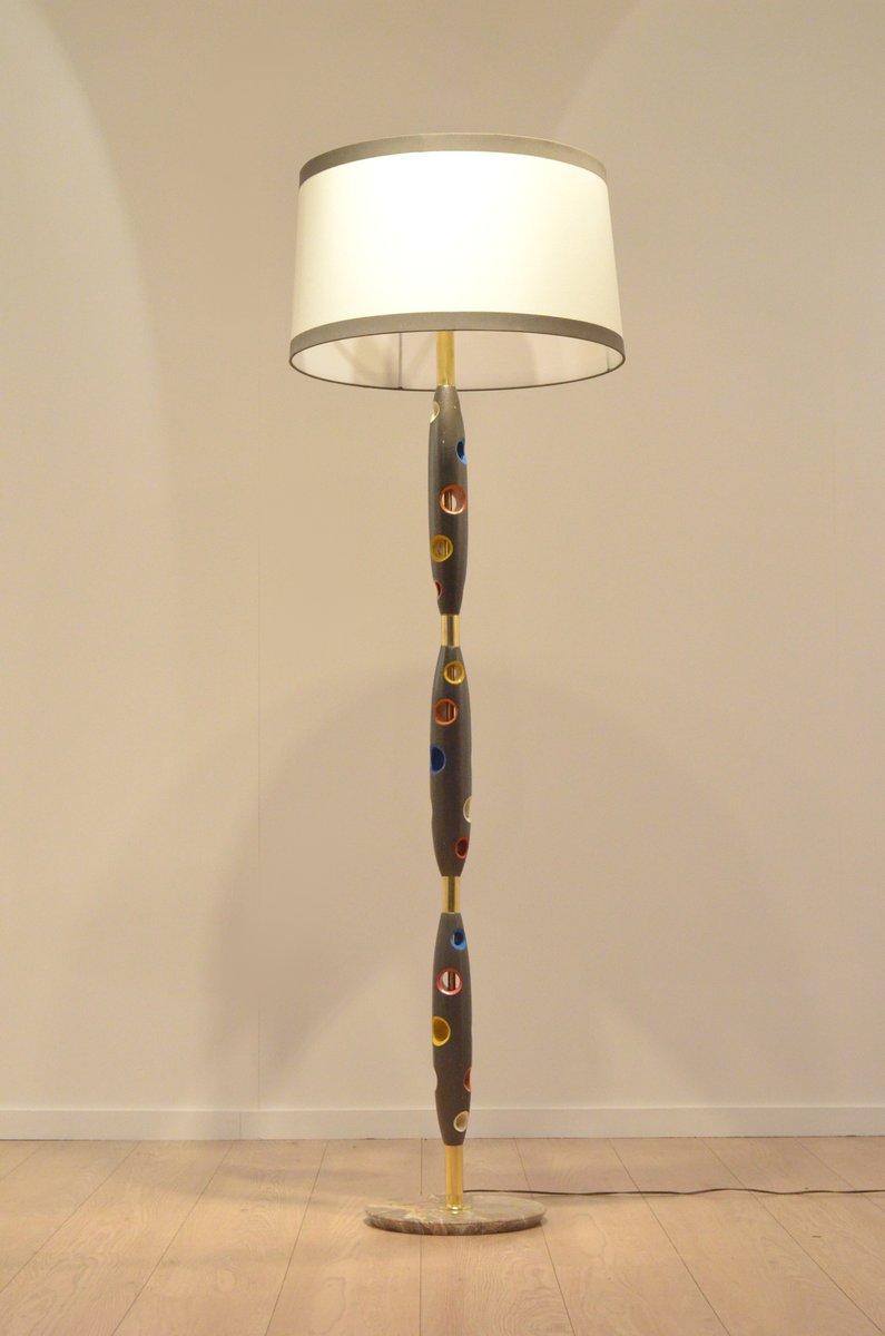 midcentury italian multicolor lacquered wood u0026 brass floor lamp 18 price per piece