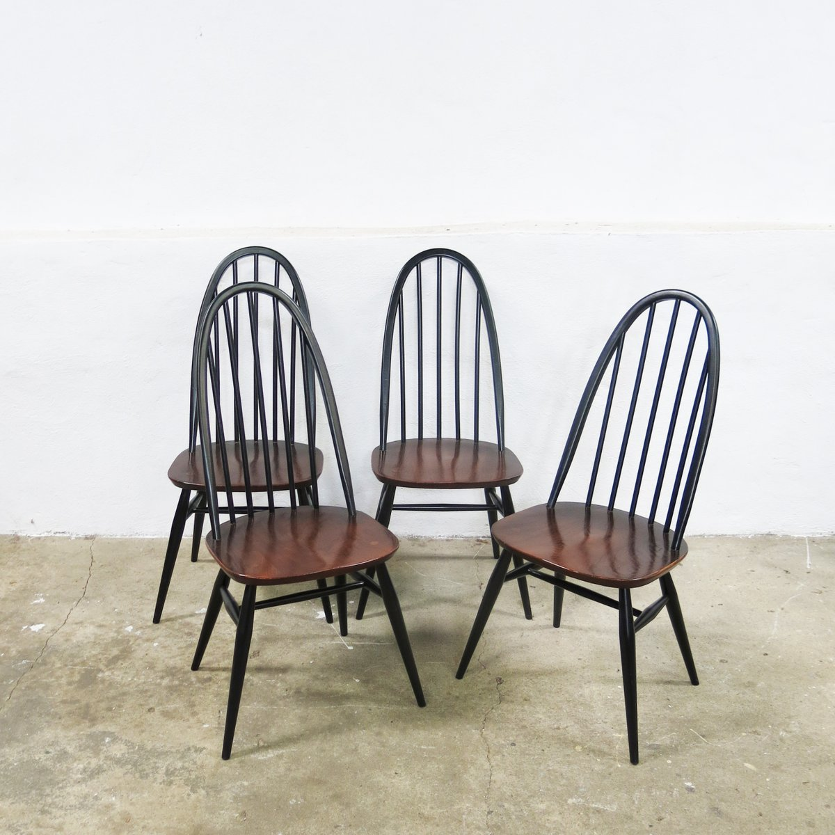 Quaker Back Windsor Armchairs By Lucian Ercolani For Ercol 1970s Set Of 4 F