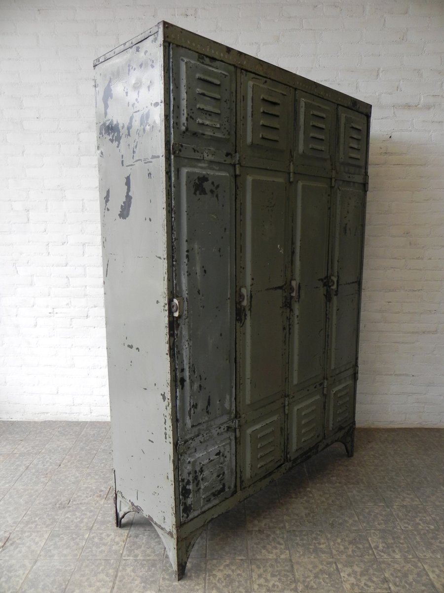 Vintage Industrial Metal Doors : Vintage industrial steel locker with  doors for sale at