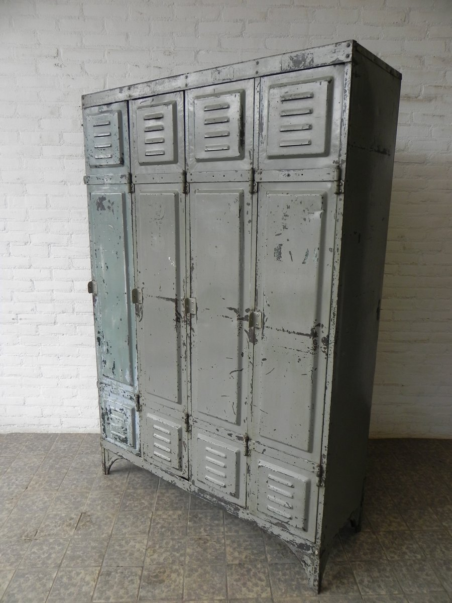 Vintage Industrial Doors : Vintage industrial steel locker with  doors for sale at