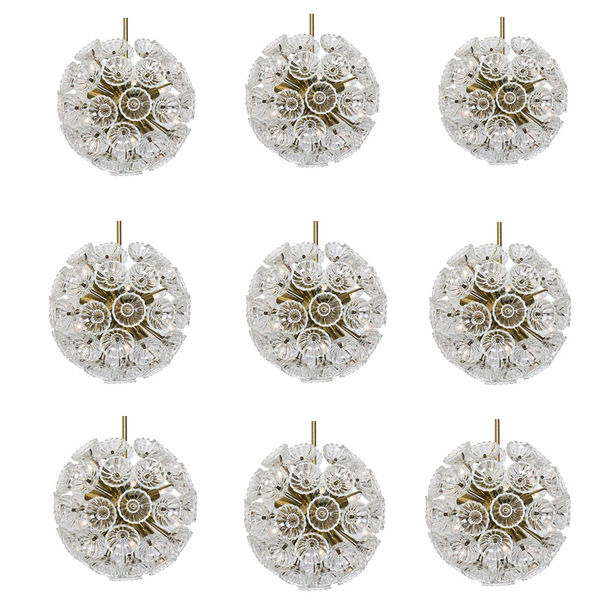 German Starburst Sputnik Chandeliers With 54 Glass Flowers