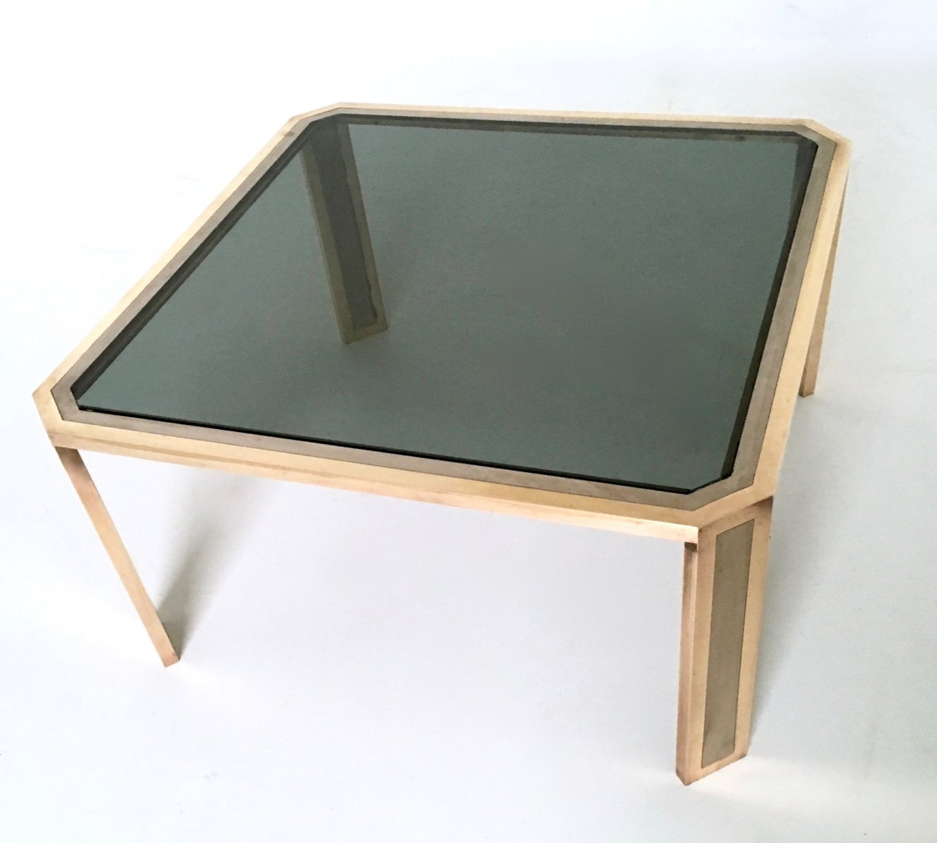 Brass And Glass Coffee Table 1970s For Sale At Pamono