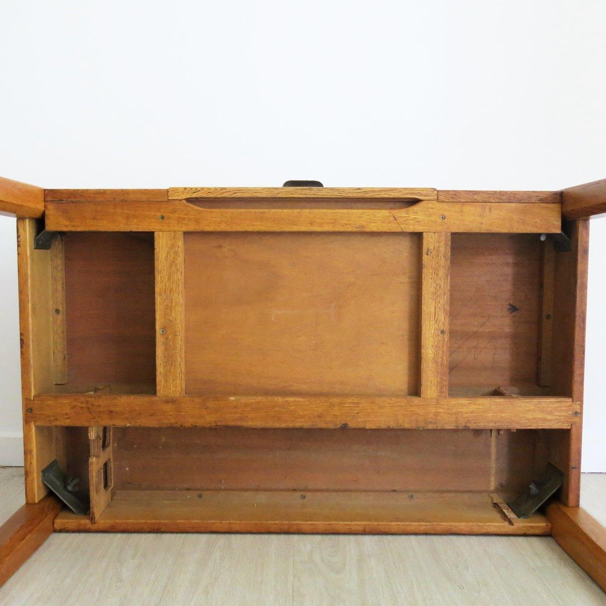 englischer vintage milit r schreibtisch aus eiche 1930er bei pamono kaufen. Black Bedroom Furniture Sets. Home Design Ideas
