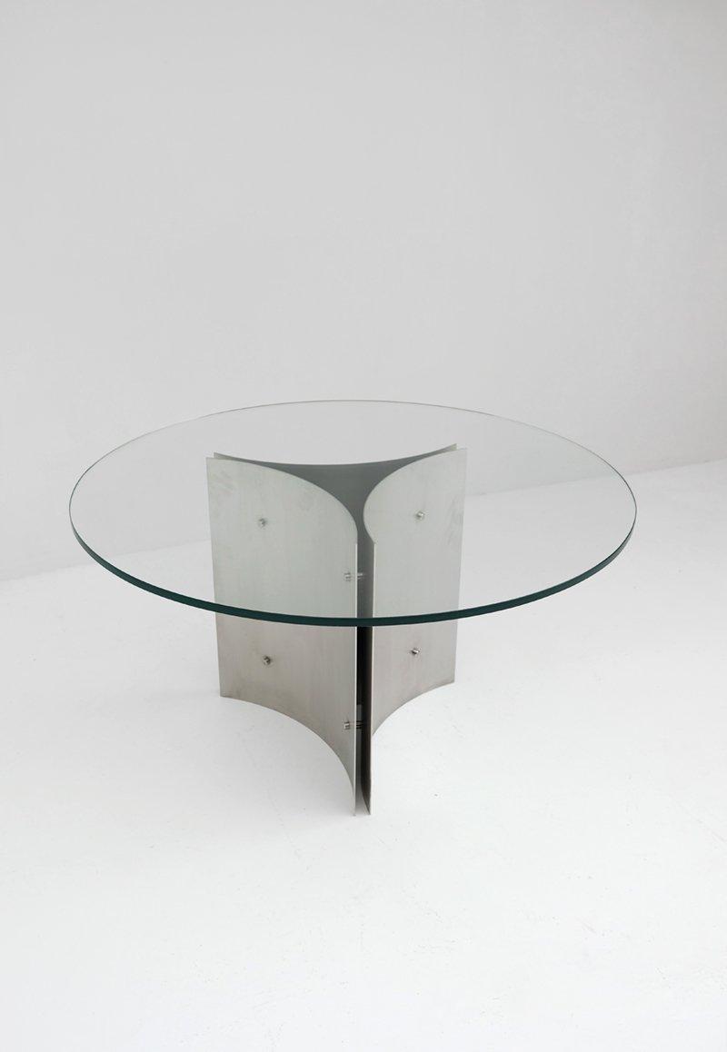 Tavolo da pranzo rotondo in acciaio e vetro anni 39 70 in - Tavolo acciaio e vetro ...