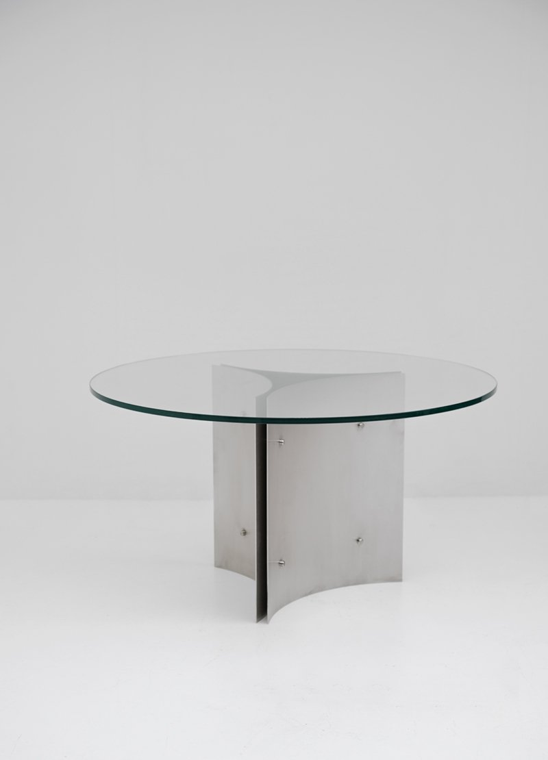 round pedestal dining table in steel and glass 1970s for sale at pamono. Black Bedroom Furniture Sets. Home Design Ideas