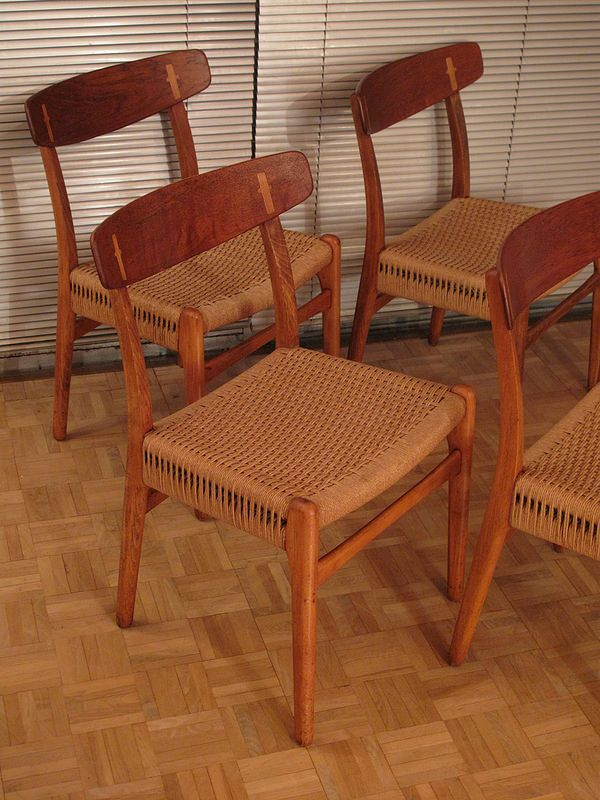 vintage ch 23 st hle von hans wegner f r carl hansen s n 4er set bei pamono kaufen. Black Bedroom Furniture Sets. Home Design Ideas