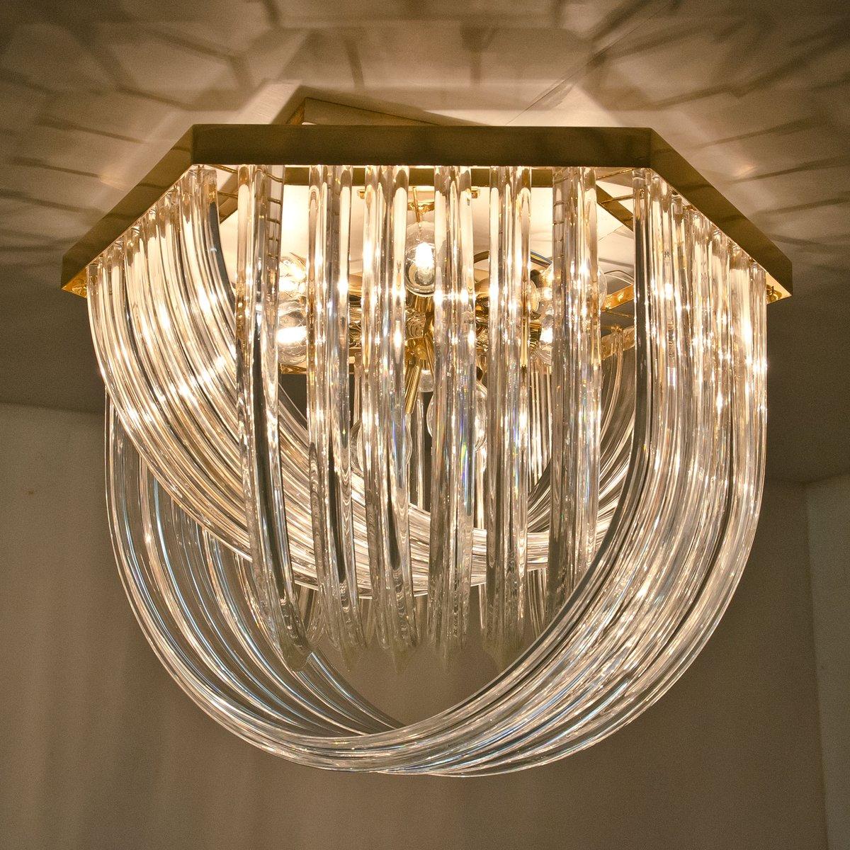 gro e geschwungene einbauleuchte aus kristallglas vergoldetem messing von venini 1960er bei. Black Bedroom Furniture Sets. Home Design Ideas