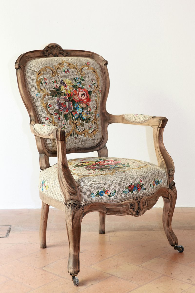 Antique Armchair With Floral Bouquet Mosaic By Yukiko