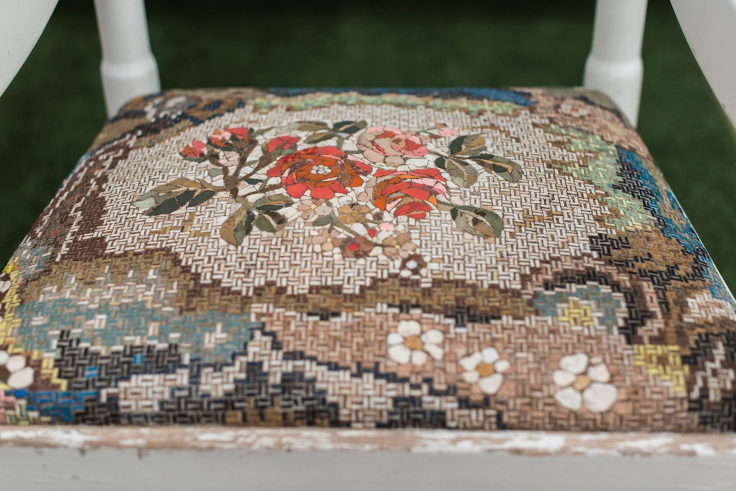 White chair with fabric patterned mosaic by yukiko nagai for Patterned material for sale