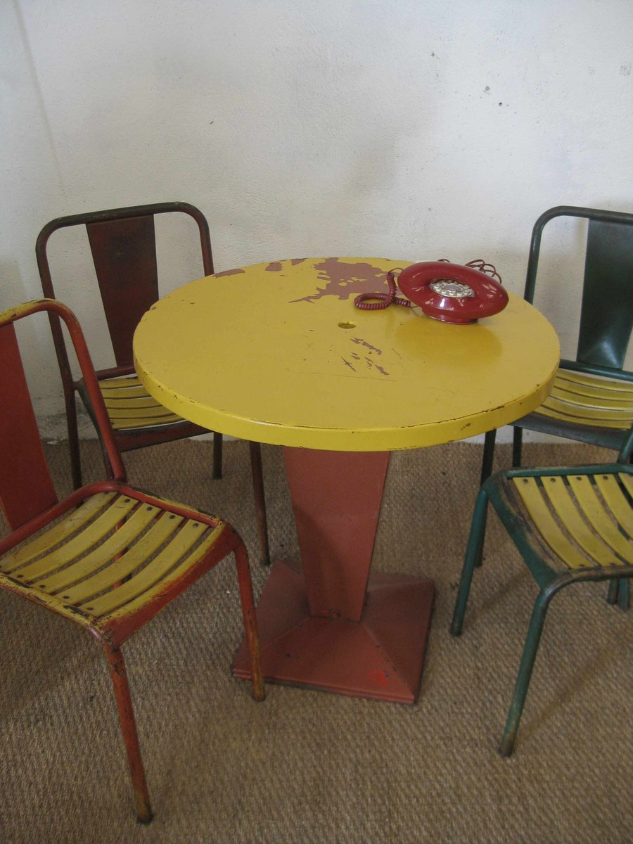 vintage kub table 4 chairs by xavier pauchard for tolix for sale at pamono. Black Bedroom Furniture Sets. Home Design Ideas
