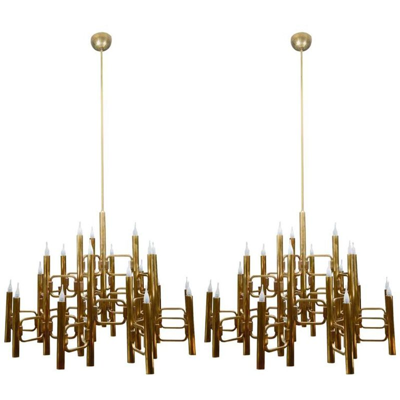 midcentury italian large brass chandelier with 21 lights by gaetano sciolari - Brass Chandelier