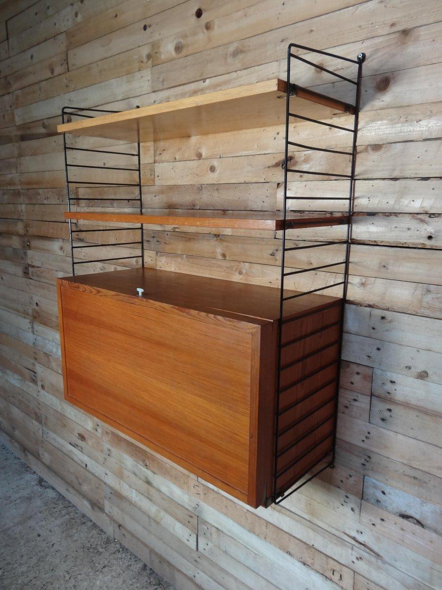 wandregal mit schrank f r schallplatten und zwei ablagen von nisse strinning f r string 1950er. Black Bedroom Furniture Sets. Home Design Ideas