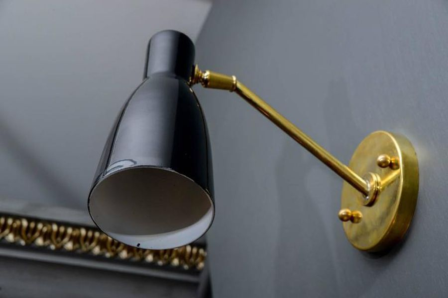Vintage Brushed Brass and Black Cone Wall Lights, Set of 4 for sale at Pamono