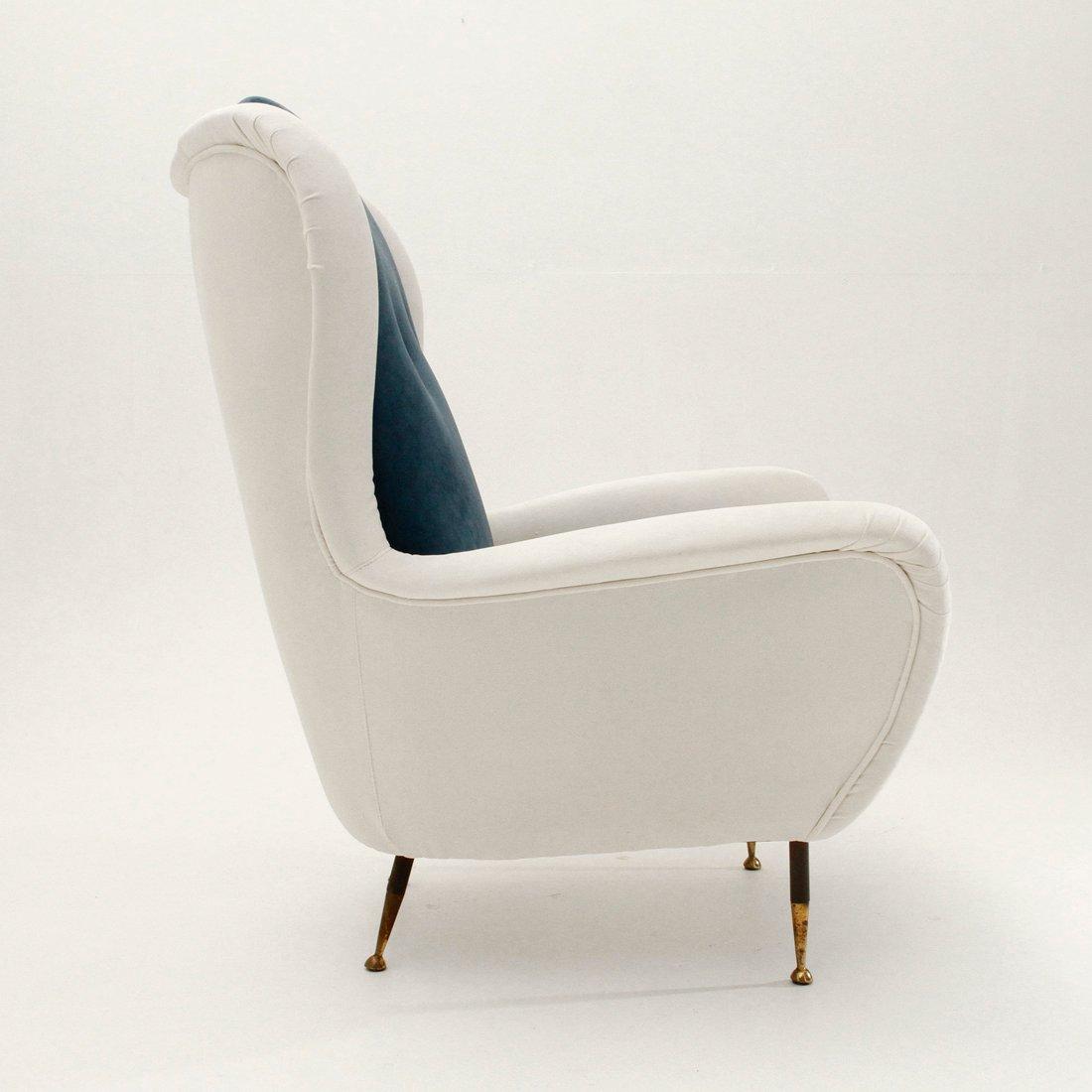 Italian Mid Century White And Blue Velvet Armchair 1950s